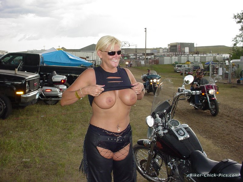 Biker babes flashing